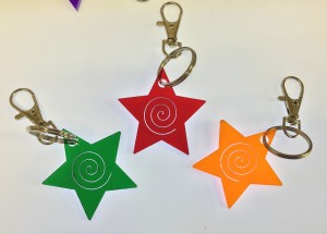 acrylic laser cut star keyrings