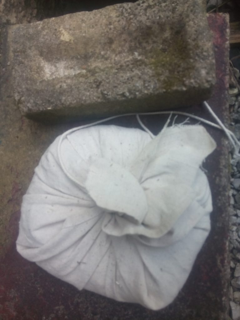 Plaster and bags wrapped in cloth