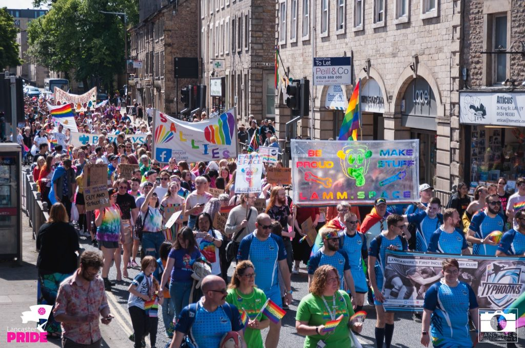 Photo of LAMM banner at Lancaster Pride March 2019
